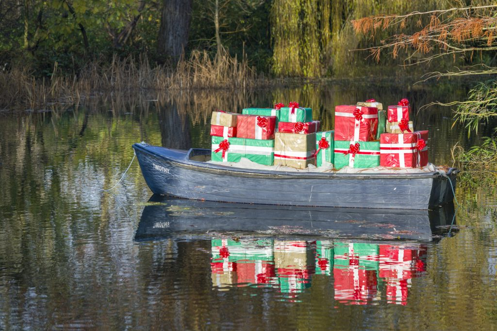 Boat Timothy loaded with presents on the Lake
